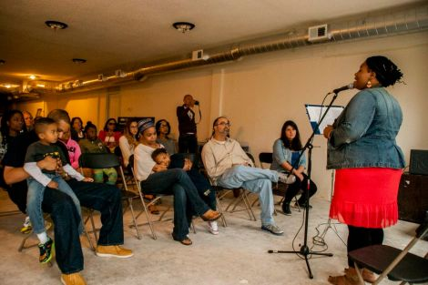 Pop-up Third Place gallery performances at FLOW in a vacant building on Penn Ave N.